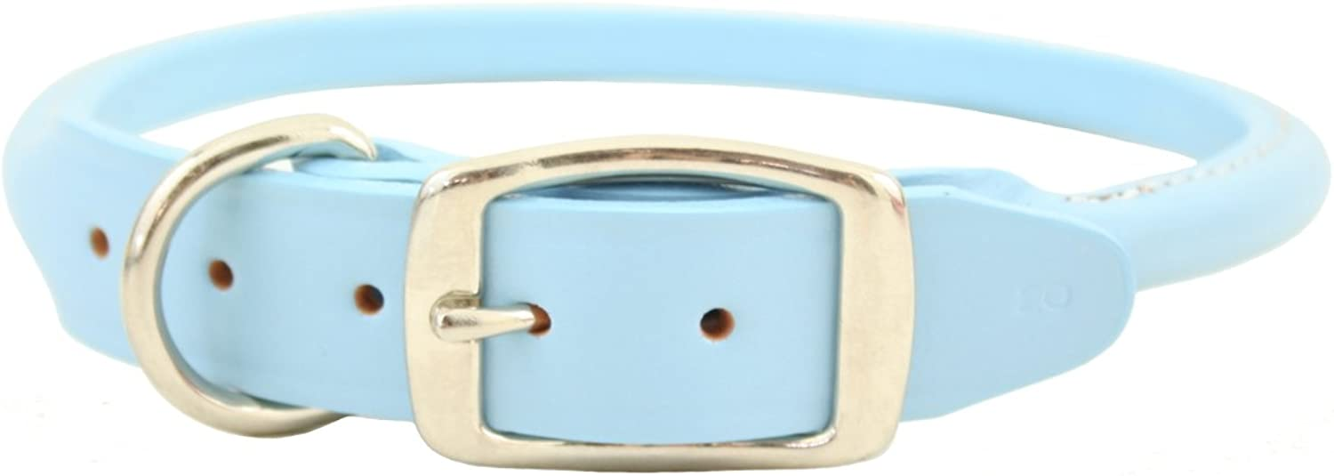 Auburn Leathercrafters Rolled Dog Collar  Baby bluee  34