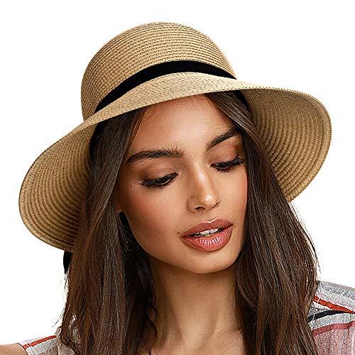FURTALK Women Wide Brim Sun Hat Summer Beach Cap UPF UV Packable Straw Hat for Travel (Large, Adult NormalBrim Khaki)