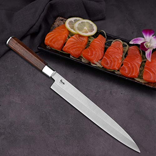 Sheikt Cutlery 9.5 Inches Yanagiba Yanagi Sashimi Sushi Japanese Chef knife - German Steel - Wenge Wood Handle - with Case