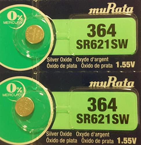 村田製作所 ムラタ(旧ソニー) SR621SW 364 2個 ボタン電池 1.55V 海外パッケージ (SR621SW)