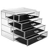 Boîte à bijoux, Cosmétiques Organisateur Grand Rangement 4 niveaux Maquillage - 4 tiroirs et séparateurs amovibles -...