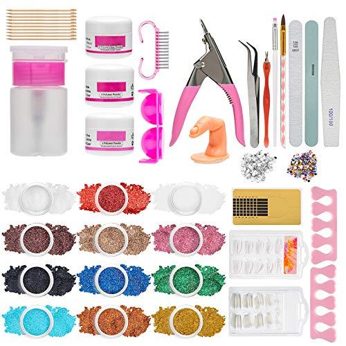 Acrylic Nail Kit for beginners, Tecanne 12 Glitter Acrylic Powder Nail Kit Set Professional Acrylic with Everything