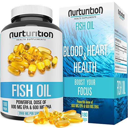 NURTURITION Fish Oil - 2000mg Omega 3 - Triple Purified with 800mg EPA- 600mg DHA - Helps to Get Better Focus - Formulated to Support Your Blood/Heart Health -180 Softgels