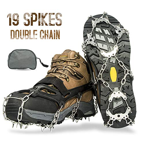 Aoriente Crampons Ice Fishing Ice Cleats for Men Women Ice Snow Grips Shoe Cleats with 19 Spikes Traction Cleats for Walking and Hiking on Ice and Snow