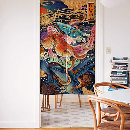 Spanker Space Colorful Ukiyoe Japanese Mythical Creatures Octopus Japanese Noren Doorway Curtain Fabric Cotton Linen for Home Kitchen Door Decor 34x59 Inches