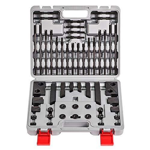 WABECO Spannpratzen Satz 58-teilig für T-Nutenbreite 14 mm und Gewinde M12 T-Nutensteine Spanneisen Spannwerkzeug im Koffer