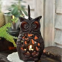 Chris.W Cast Iron Owl Tealight Holder Lantern Candlestick Holder Candlelight Holder Home Decoration