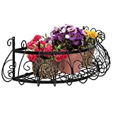 MyGift Black Metal Scrollwork Design Wall Mounted Flower Plant Shelf Display/Decorative Window Boxes Planters