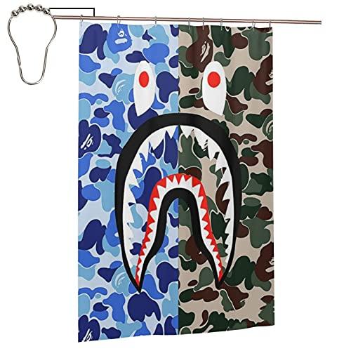 Ninegty Blue Bap-ES Shark Camo Shower Curtain Polyester Fabric Waterproof Bathroom Decor Set Washable with 12 Hooks, 48 x 72 Inch