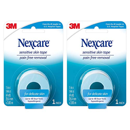 Nexcare Sensitive Skin Tape, Pain-Free Removal, 1-inch x 4 Yard Roll (Pack of 2)