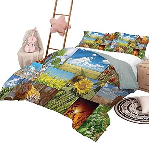 Tagesdecke Bettdecke Set in voller Größe Rustikale Unisex Bettwäsche Set Modernes Muster Gedruckt Sonnenblumen Mais Weizen