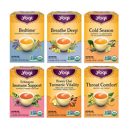 Yogi Tea - Get Well Variety Pack Sampler (6 Pack) - 6 Teas for Cold and Flu Symptom Support - 96 Tea Bags