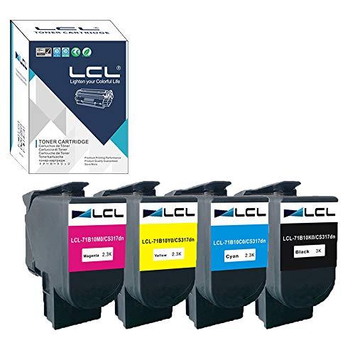 LCL Compatible Toner Cartridge Replacement for Lexmark 71B0010 71B10K0 71B10C0 71B10M0 71B10Y0 CS317 CX317 CS417 CX417 CS517 CX517 CS317dn CX317dn CS417dn CX417de (4-Pack Black Cyan Magenta Yellow)