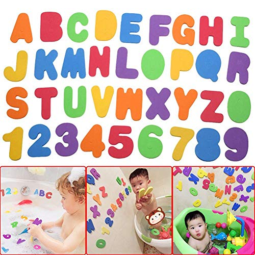 2 x Mesh Baby Bath Toy Storage + 36 Bath Toys Letters and Numbers - Toddlers Large Toy Organiser Net Bag for Baby Boys & Girls and Shower Caddy Bonuses: 6 Ultra Strong Suction Hooks (White)