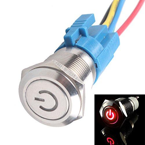 E Support™ 16mm 12V 3A Rouge de v¨¦hicule automobile LED poussoir m¨¦tallique bouton interrupteur de puissance lumineuse prise de courant