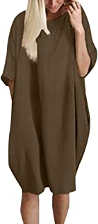 Women's Tunic Dress Long Sleeve Oversize Baggy T Shirt Causal Loose Party Short Midi Dresses Linen Dress with Pockets