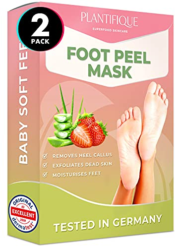 Plantifique Premium Fußmaske Erdbeere Hornhaut Socken - Foot Peel Mask Hornhautentferner Socken - Wirksam bei Schwielen, Abgestorbener und Trockener Haut - Tief Rissige Fersen Reparat - 2 Paare