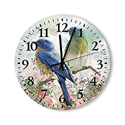 Pealrich Round Wall Clock 12 Inch Non-Ticking Silent Battery Operated Eastern Bluebird Pink Flower Vintage Frameless Hanging Clocks Decorative for Living Room Bedroom Kitchen School