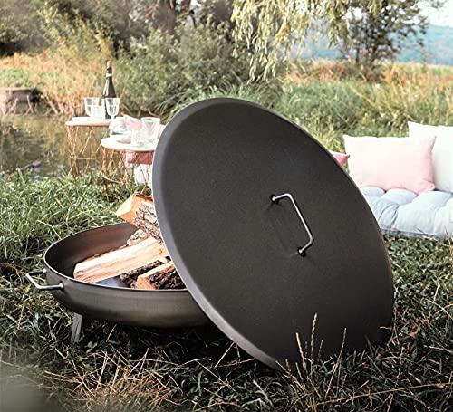 Czaja Feuerschalen® Deckel für alle Feuerschalen ; einfaches Ablöschen der Feuerschale ohne Wasser und zum Schutz vor Regen (Stahl, Ø 80cm)