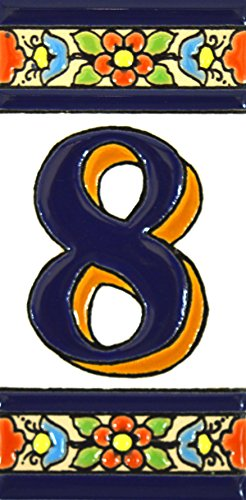 Números casa. Letreros con numeros y letras en azulejo de ceramica policromada, pintados a mano en técnica cuerda seca para placas con nombres, direcciones y señaléctica. Texto personalizable. Diseño FLORES MEDIANO 10,9 cm x 5,4 cm. (NUMERO OCHO '8')