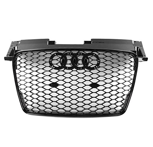 ZMAUTOPARTS TTRS Style Honeycomb Mesh Hex Grille Gloss Black For 2007-2014 TT/TT Quattro