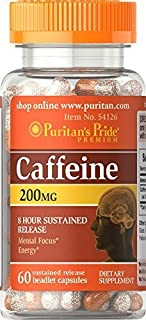 2 Bottles of Puritan's Pride Caffeine 200 mg 8-Hour SR-(60 Capsules x 2 = 120)