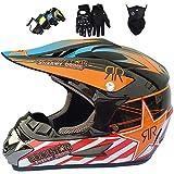 Casco de motocross para niños,Casco choque ATV motocicleta todoterreno MTB cara completa para adultos con máscara guantes gafas,Equipo protector de casco de choque todoterreno,Certificación ECE & DOT