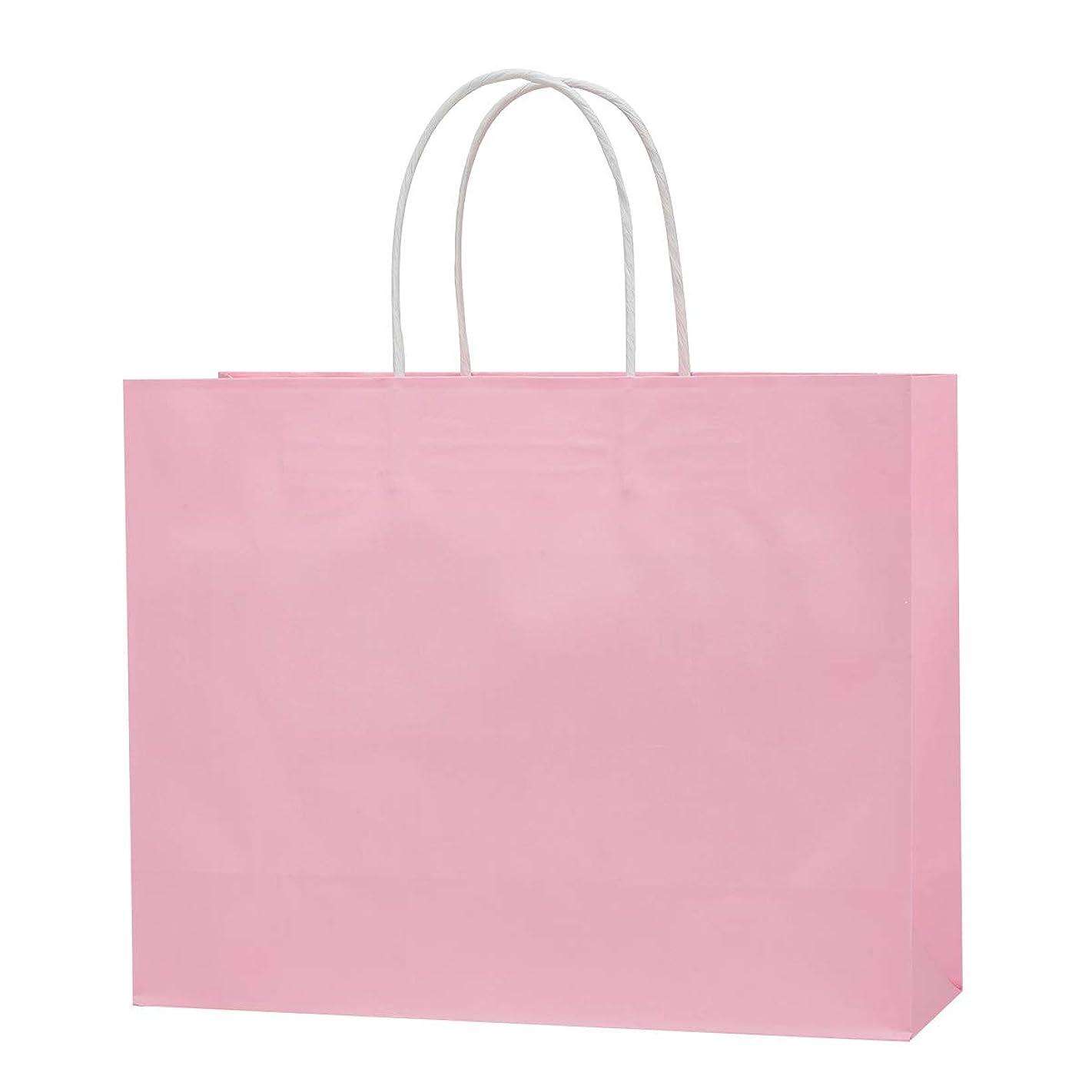 "12.6""x4.3""x9.85"" White Kraft Paper Shopping Bags, Colorful Gift,Party, Wedding, Merchandise, Carry, Retail, Restaurant takeouts,Paper Bags 50pcs/ 100pcs (Light Pink, 50 PCS)"