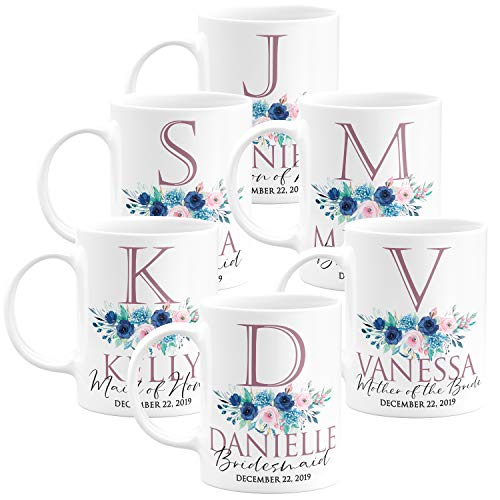 Personalized Wedding Gifts Bridesmaid Coffee Mug - 11oz - Bridesmaid, Matron of Honor, Mother of the Bride, Maid of Honor - Custom Bridesmaid Gifts, Bachelorette Party Favors - Design 3 - Set of 6