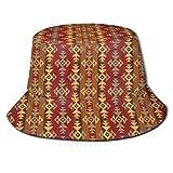 LLALUA Unisex Summer Fisherman Cap,Geometric Striped Ethnic Seamless Cultural Local Pattern,Travel Beach Outdoor Sun Hat