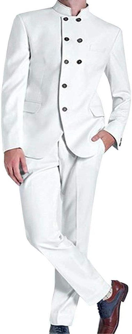 RONGKIM Men's Double Breasted Blazer 2 Piece Groom Tuxedos Coat Pant Design Wedding Suit
