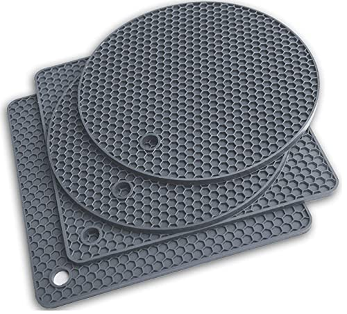 Silicone Trivet Mats - Pot Holders - Drying Mat Our Potholders Kitchen Tools is Heat Resistant to 440°F, Non-Slip Durable Flexible Easy to wash and Dry and Contains 4 pcs by Q's INN.