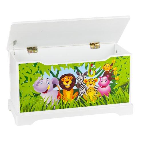 Leomark Hölzern Kindertruhenbank – Zoo- Kinderbank, Behälter für Spielzeug, Truhe für Kinderzimmer, Kindermöbel, Sitzbank mit Stauraum für Spielsachen, Höhe: 32 cm - 2