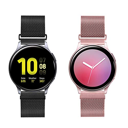 WNIPH Correa de reloj de acero inoxidable de liberación rápida para Galaxy Watch/ Active2 44 mm 40 mm / Gear Sport/Gear S2 Classic/Garmin Vivoactive 3, correa de metal de repuesto