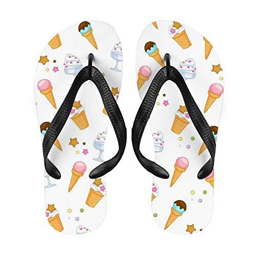 Dessert-/Eiscreme-Zapfen Flip-Flop Strand Sommer Hausschuhe Sandalen für Damen Herren Smoothies Punkte, - Smoot1 - Größe: Medium