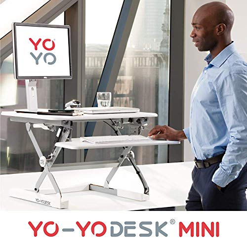 Yo-Yo DESK Mini (Weiß) – Steh Sitz Schreibtisch Aufsatz. Höhenverstellbarer Schreibtisch (68 cm breit) für Ihren gesunden und produktiven Steharbeitsplatz