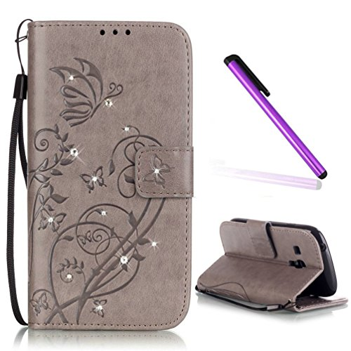EMAXELERS Galaxy S3 Mini Hülle Glitzer Bling Schmetterling Schutzhülle Ledertasche LederHülle HandyHülle Slim Flip Soft Case Etui Hülle für Samsung Galaxy S3 Mini,Gray Butterfly with Diamond