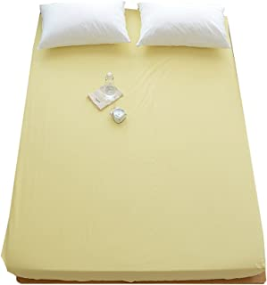 OTOB 100% Cotton Solid Children Fitted Sheets Soft Single Deep Fitted Bed Sheet Twin Full Queen Size (Twin, Yellow)