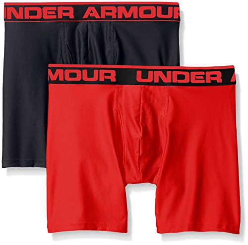 Under Armour Men's Original Series 6-inch Boxerjock Boxer Briefs, Black (003)/Red, Large