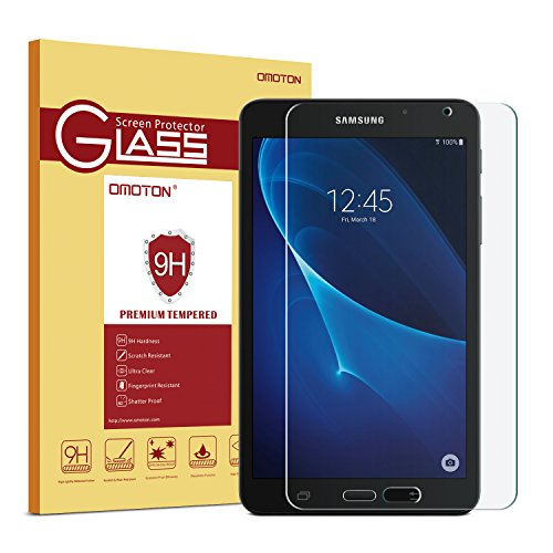 Samsung Galaxy Tab A 7.0 (SM-T280 ONLY) Screen Protector, OMOTON Tempered-Glass Protector with [9H Hardness] [Crystal Clear] [Scratch-Resistant] [Bubble Free]