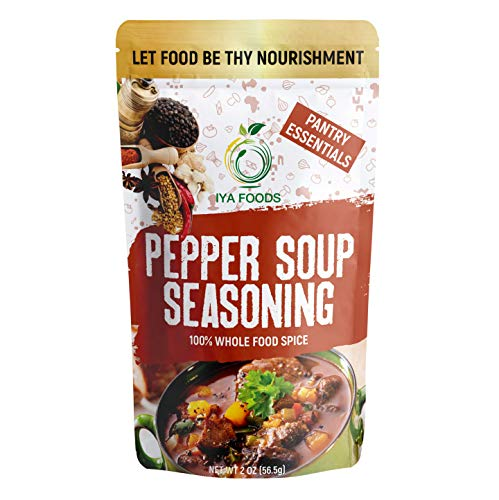 Iya Foods Pepper-Soup Seasoning 5 oz Bag, made from 100% with Herbs, Peppers & Spices. A Hearty, Nutritious Blend of Whole Food Ingredients Good for Body and Soul. No Preservatives, No Added Color.