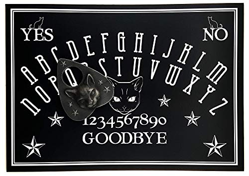 Hand Finished A4 Sized Wooden Black Cat Talking Board Set Complete with Resin 3D Cat Face Planchette, Classic Ouija Style Board Game