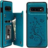 Galaxy S10 Case Wallet, Case with Card Holder Embossed Butterfly...