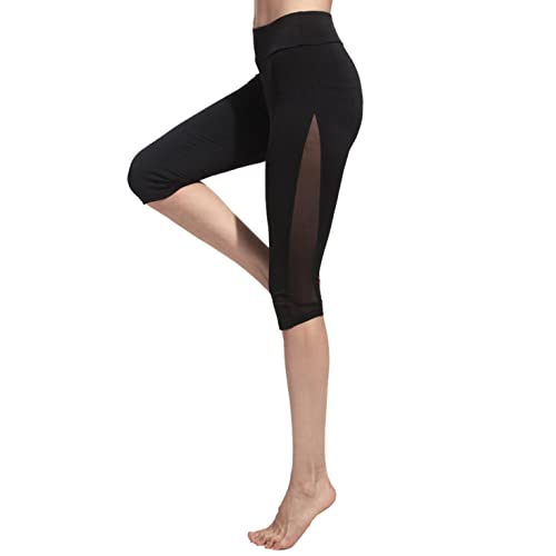 0ec4607d1f3ed SweatyRocks Women's Mesh Panel Capri Leggings Workout Yoga Running Crop Pants  Black S
