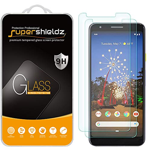 (2 Pack) Supershieldz Designed for Google (Pixel 3a) (Updated Version) Tempered Glass Screen Protector, 0.33mm, Anti Scratch, Bubble Free