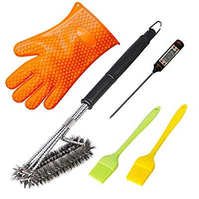 Leederson All-in-one BBQ and Grill Accessories That Will Make Your Grilling Better – Grill Brush, Sillicone Basting Brush, Meat Thermometer, One Gill Glove [5-Pack]