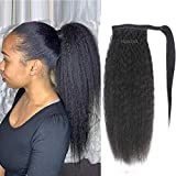 Myecool Hair Human Hair Ponytail Extensions Kinky Straight Ponytail For Black Women 100g Wrap Around Ponytail