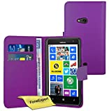 FoneExpert® Wallet Hülle Flip Cover Hüllen Etui Ledertasche Lederhülle Premium Schutzhülle für Nokia Lumia 625 + Bildschirmschutzfolie (Lila)