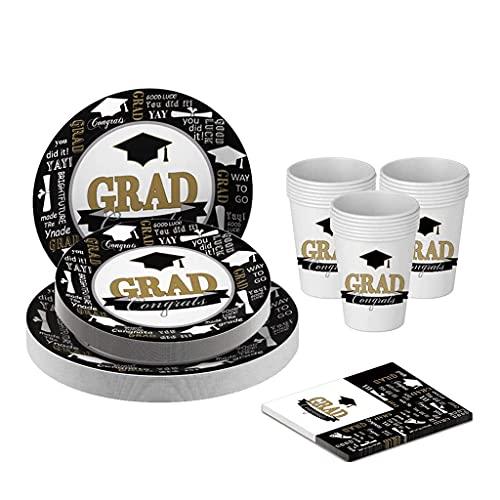Juego de vajilla de fiesta de graduación, juego de vajilla desechable, suministros de fiesta, decoraciones con vajilla a juego, vasos, servilletas, kit de suministros de fiesta de graduación