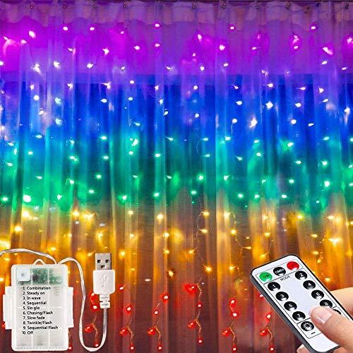 Lámpara de cortina de cuento de hadas LED-3M * 1.5m Manipulación de USB o fuente de alimentación de la batería Luz de cadena 200 Latch Control remoto y temporizador / 8Modas Color LED ventana de cuent